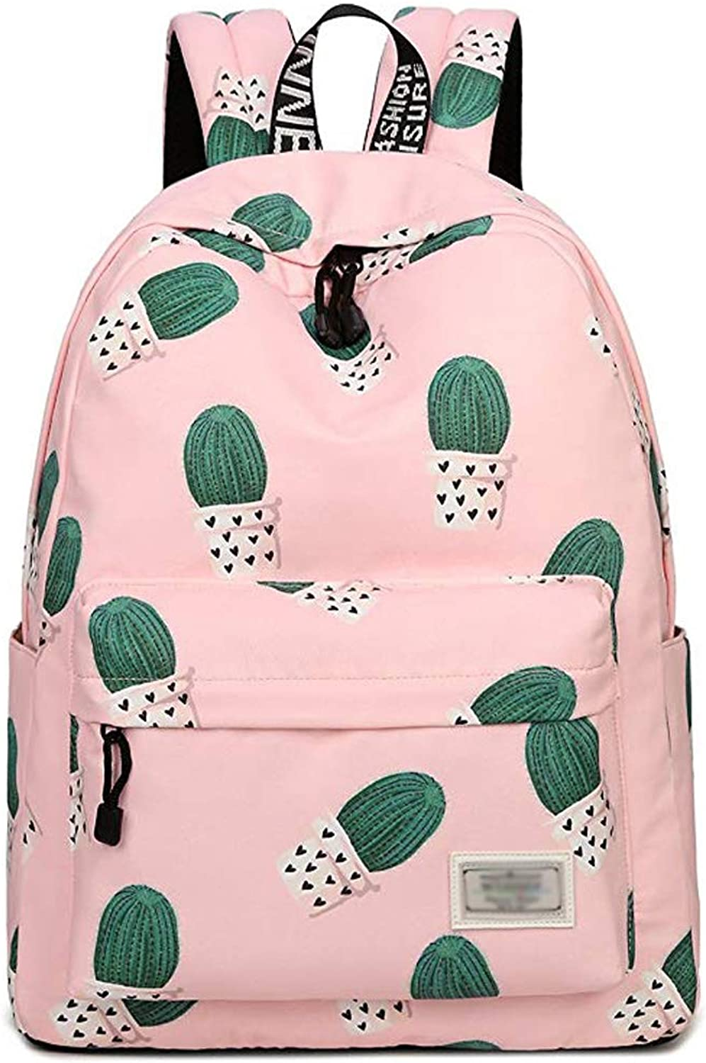 DSSchool bag BackpackCasual Cactus Pattern Backpack Girl Shoulder Bag Wild Backpack Campus Wind Junior High School Student Bag && (color   PINK, Size   12x16x5.5 inches)