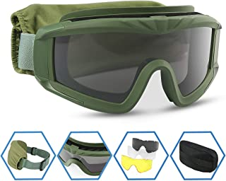 XAegis Airsoft Goggles, Tactical Safety Goggles Anti Fog Military Glasses with 3..