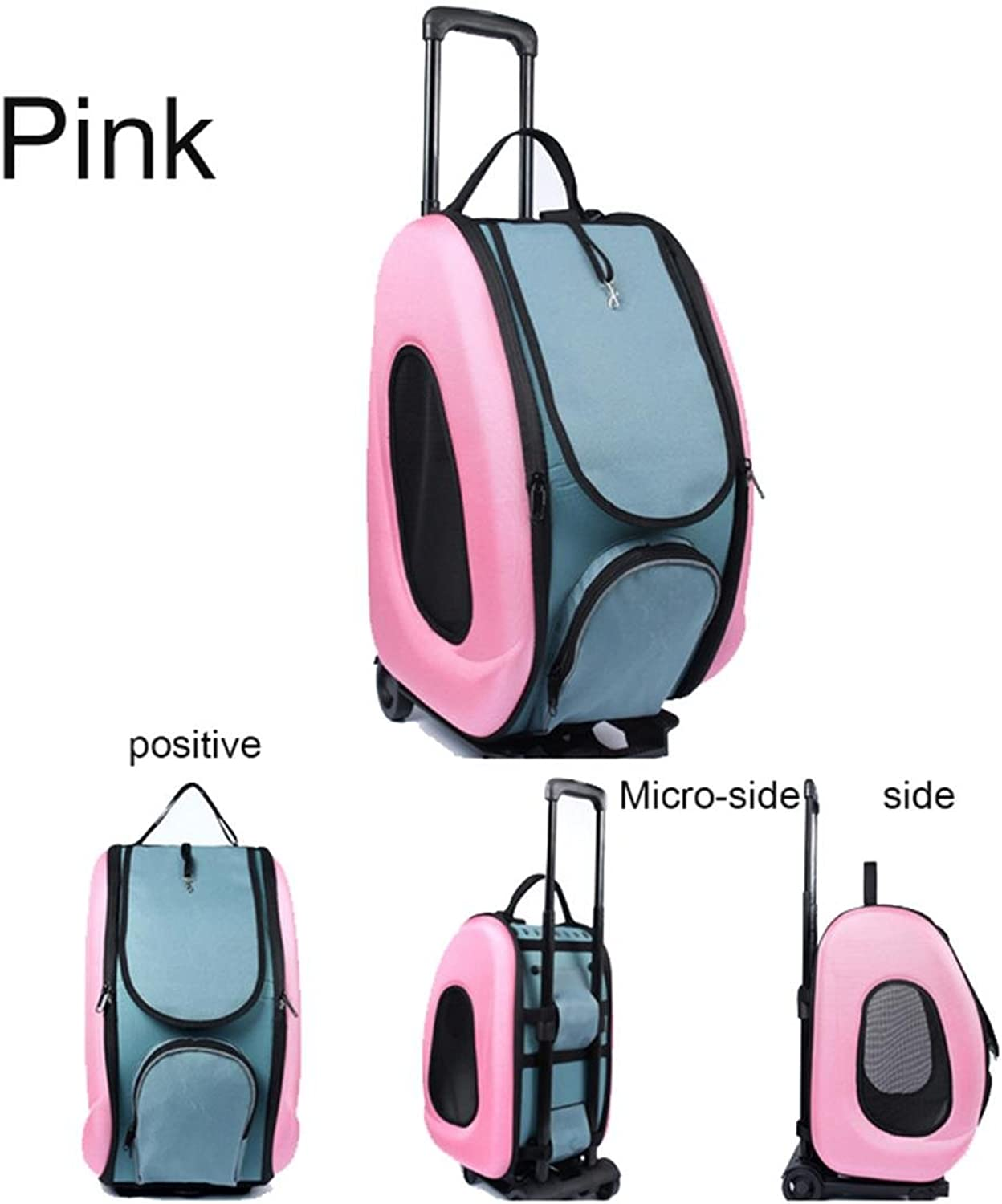 CWBB Pet Carriers For Dogs With Wheels Portable Backpack Dog Trolley Carrier Travel Bag Oxford, Pink
