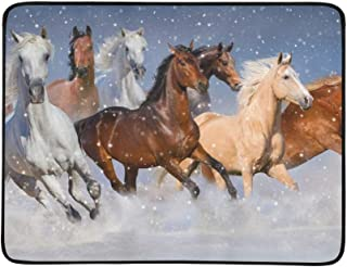 Horse Herd Run Fast in Winter Snow Field Pattern Portable and Foldable Blanket Mat 60x78 Inch Handy Mat for Camping Picnic Beach Indoor Outdoor Travel