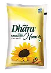 Dhara Nourish Refined Sunflower Oil Pouch, 1L