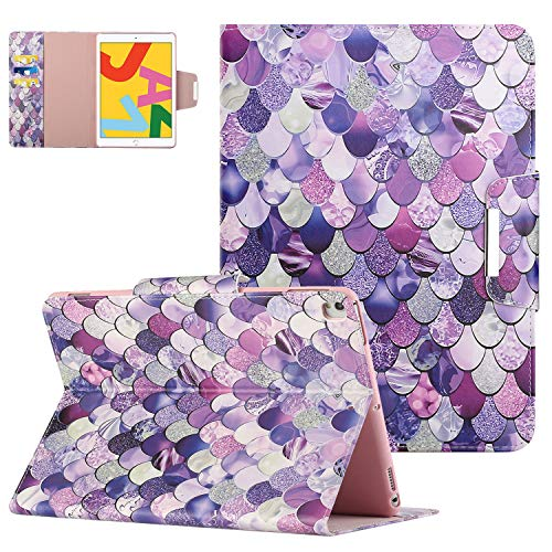 Folio Case for iPad 10.2' 2020(8th Generation), iPad 7th Gen 10.2 2019 Cover with Card Slots, Premium PU Leather Anti-Scratch Auto Wake Sleep Stand Cute Case for iPad 8 2020/iPad 7 2019 - Purple Scale