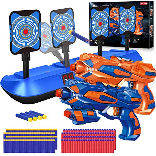 POKONBOY 2 Pack Blaster Toy Guns for Boys Compatible for Nerf Guns Bullets, Electronic Shooting Target with 80 PCS Refill Darts for Kids, Hand Gun Toys for 3-8 Year Old Boys Girls