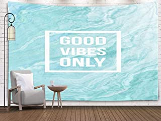 TOMWISH Home Decor Tapestry, Popular Hanging Wall Tapestry Decorations Bedroom and Home Décor Dorm Good Vibes Only Motivational on Abstract Liquid Background 60x50 Inch