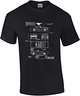 Ford Mustang Schematics Adult Short Sleeve Graphic T-Shirt