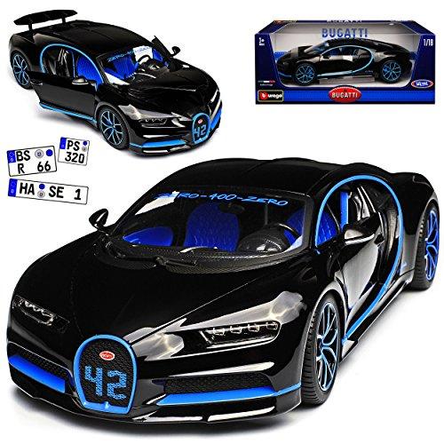 Bburago Bugatti Chiron Coupe Schwarz Weltrekord Version Ab 2016 1/18 Modell Auto
