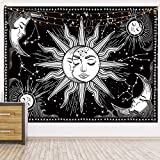 HOTMIR Wall Tapestry - Black and White Tapestry Wall Hanging Mystic Tapestry as Wall Art and Room Decor for Bedroom, Living Room, Dorm - Printed with Fringe (51.2x59.1 Inches, 130x150 cm)