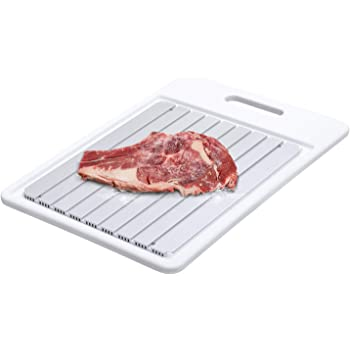 GEMITTO Rapid Defrosting Tray, Thawing Plate for Faster Defrosting Frozen Food, Defrost Plate with Hole for Easily Hanging, Quicker Safer Way to Defrost Meat Pork Beef Fish (White)