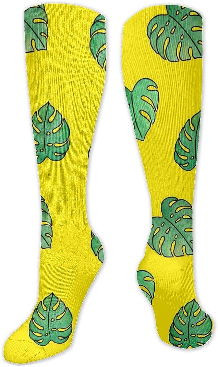 Tropical Leaf Knee High Socks Leg Warmer Dresses Long Boot Stockings For Womens Cosplay Daily Wear