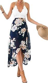 Blooming Jelly Asimmetrico Vestito Floreale Allacciato al Collo A V Profondo delle Donne Gelatina