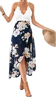 Women's Deep V Neck Sleeveless Summer Asymmetrical Floral...