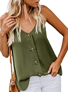 Fronage Womens Button Down V Neck Tank Tops Loose Strappy Cami Casual Sleeveless Shirts Blouse