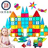 HLAOLA Magnetic Building Blocks Magnetic Tiles 3D Tiles Set 73PCS Magnetic Toys for 2 3 4 5 6 7 Year Old Boys Girls Gifts Educational Inspirational Conventional Recreational STEM Toys Tiles