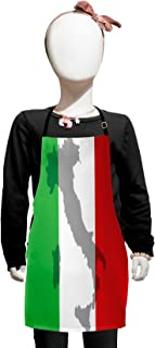 Lunarable Italian Flag Kids Apron, Map View of Italy Land Chart National Country Europe Culture, Boys Girls Apron Bib with Adjustable Ties for Baking Painting, Kids Size, Fern Green