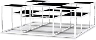 Zuri Furniture Modern Maldives Coffee Table - Black Opaque Glass with Polished Stainless Steel Base