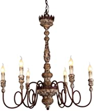 French Country Candle-style Chandelier Shabby Chic Pendant Light Distressed Chandelier Wood Metal Ceiling Light Home Decor...