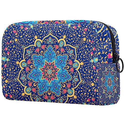 Blue Mandala Vector Ornament Travel Makeup Train Case Makeup Cosmetic Case Organizer Portable Artist Storage Bag