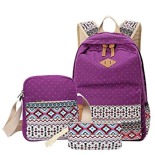 Aiduy School Backpack Canvas Bookbag Shoulder Daypack Handbag for Girls (Purple)