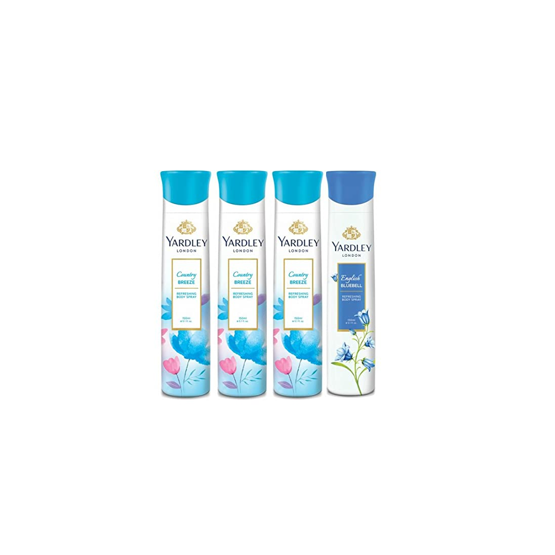 腐敗したステレオタイプ年次Yardley London Three Country Breeze & One English Bluebell Deodorant Combo for Women(150 ml each) - India
