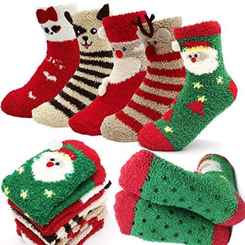 iZoeL 5 pairs Christmas Socks Fluffy Non Slip with...