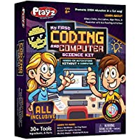 Playz My First コーディング&コンピュータサイエンスキット - バイナリコード、暗号化、アルゴリズム&ピクセル化について学ぶ コンピューターを使わない楽しいパズル活動 男の子 女の子 ティーンエイジャー 子供用