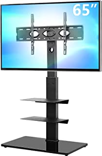 5Rcom Swivel Floor TV Stand with 3 Shelves TV Stand Mount for Most 32 37 42 47 50 55 60 65 inches Plasma LCD LED OLED Flat...