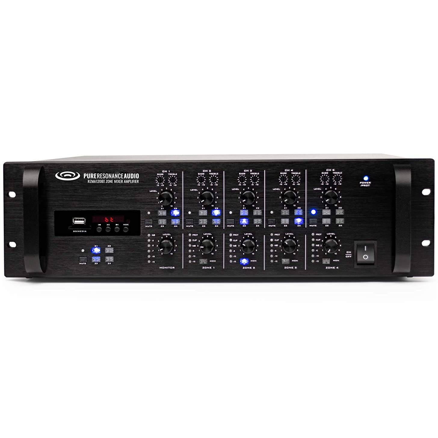 Pure Resonance Audio RZMA120BT 4 Zone 120W Commercial Rack Mount Mixer Amplifier with 4 x 120 Watts 4 Ohm, 70V/100V and Bluetooth