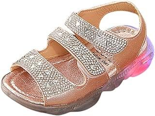 Childrens Shoes,Baby Girls Summer LED Light Up Sandals Luminous Flat Soft Anti-Slip Closed-Toe Shoe