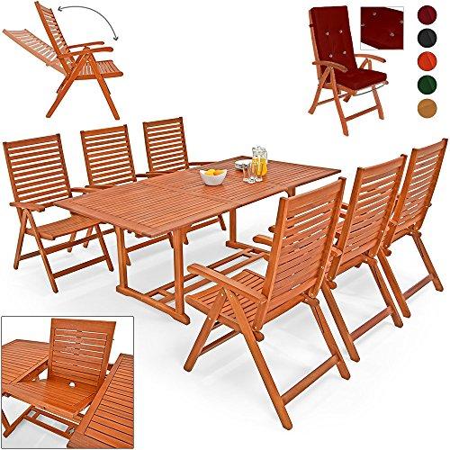 Deuba® 6+1 Sitzgarnitur Unikko | Eukalyptusholz inkl. 6 Auflagen rot | Sitzgruppe Essgruppe Tischgruppe Garten Möbel Set