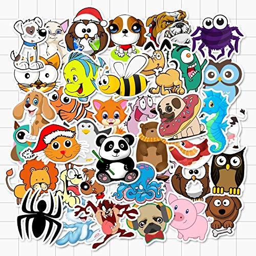 BLOUR honden katten Panda vis vogels Cartoon dieren sticker waterdichte vinyl sticker voor laptop helm fiets bagage 50 stuks