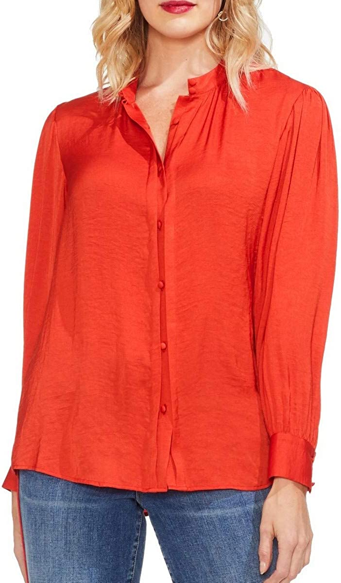 Vince Camuto Womens Pintuck Long Sleeves Button-Down Top