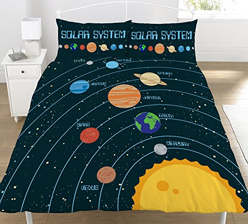 KidCollection Solar System Planets Single/Double Reversible Duvet Cover Bed Set Space (Double Duvet Cover)