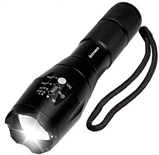 Binwo LED Flashlight - Super Bright Cree T6 2000 Lumen Flashlight, 5 Modes, Zoom Lens with Adjustable Focus Torch Light - Water Resistant Flashlight LED for Camping, Outdoor