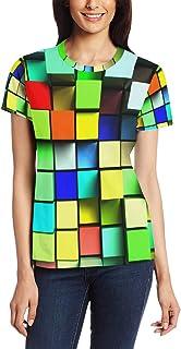 XiangHeFu T-shirt voor vrouwen meisjes kleurrijke kubus patroon aangepaste korte mouw