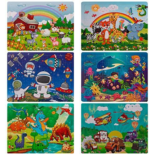 swonuk 60 Piezas Puzzles de Madera Conjunto de 6 Rompecabezas de Madera Educativos Juguetes Niños 2 a 5 años Regalos de Cumpleaños de Navidad para Bebés (Rompecabezas)