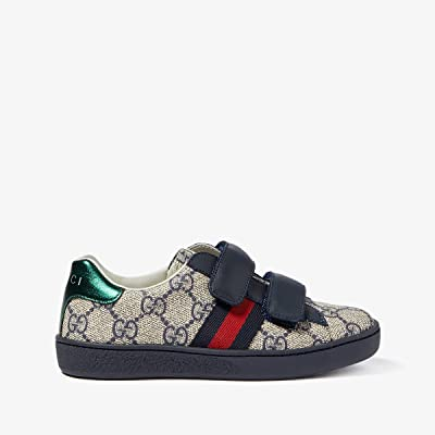 Gucci Kids New Ace V.L. Sneakers (Little Kid) (Beige/Ink) Kids Shoes