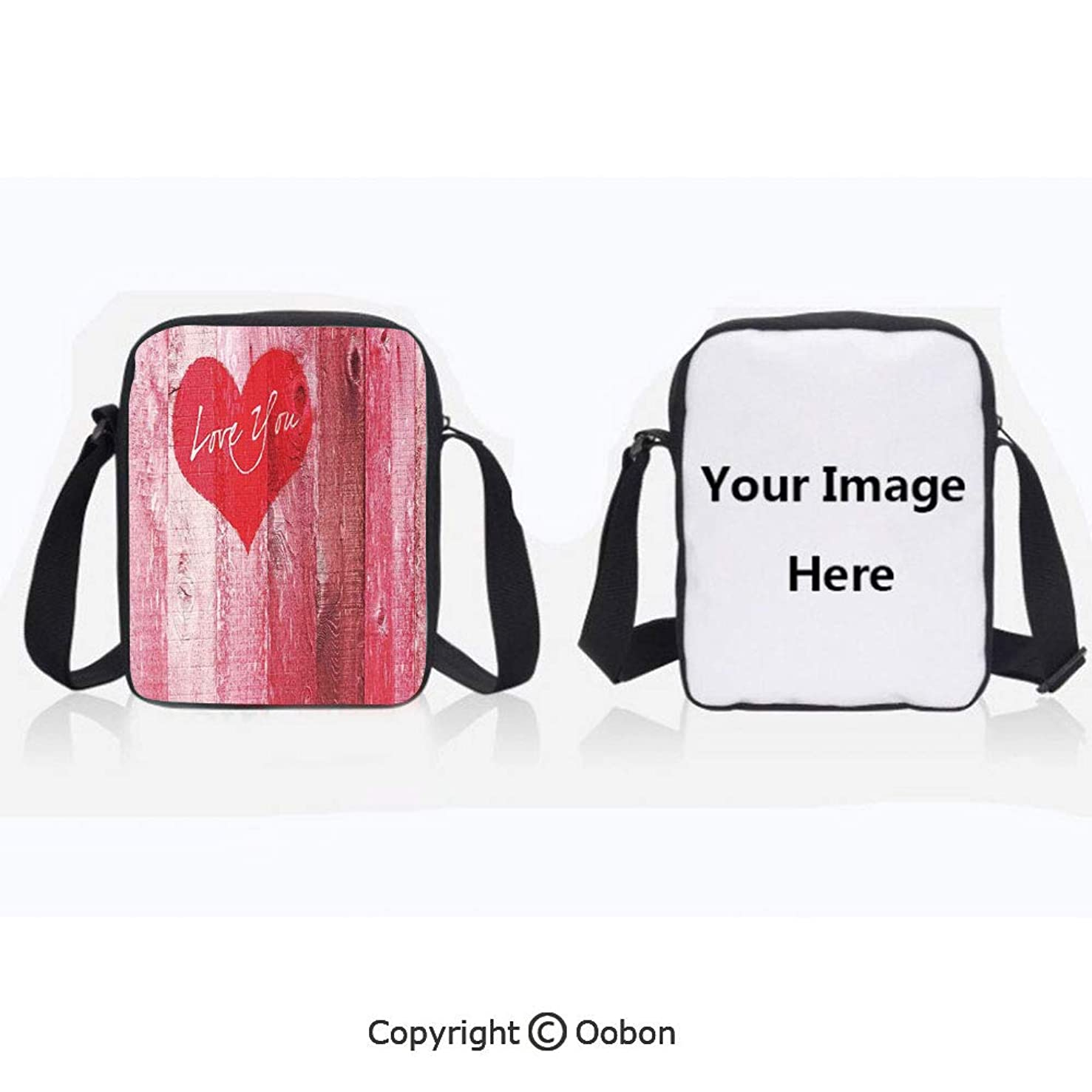 Fashion Everywhere Bag Waterproof Unisex Children Love You Heart on Grunge Style Rustic Wooden Background Valentines Day Retro Artsy Print Red Pink Lightweight Crossbody Polyester Shoulder Bag