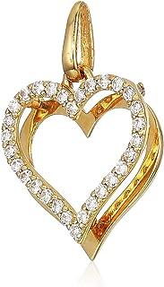 قلادة نسائية من الذهب عيار 10 قيراط AAA مكعب زركونيا على شكل قلب