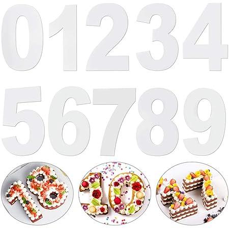 LYTIVAGEN Moules à Gâteaux Numériques en Acryliques Moule à Cake Grand Nombre de 0 à 9 pour Crème de Gâteau aux Fruits, Gâteau de Mariage, Gâteau d'anniversaire, Bonbons