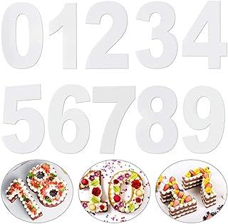 LYTIVAGEN 10 PCS Molde Grande para Tartas con Números 0 – 9 Set Gran Número Molde Blanco Molde para Pastel para Cumpleaños Aniversarios Fiestas (10 Pulgadas, 25CM)