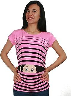 LAPASA Damen Kurzarm Schwanger T-Shirt Umstandsshirt Umstandstop Mehrweg L55