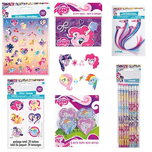 Unique My Little Pony Birthday Party Favors and Decorations | Pencils, Tattoos, Hair Clips, Photo Booth Props, Note Pads, Stickers and Loot Bags