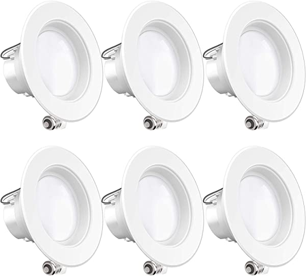 Sunco Lighting 6 Pack 4 Inch LED Recessed Downlight Baffle Trim Dimmable 11W 40W 3000K Warm White 660 LM Damp Rated Simple Retrofit Installation UL Energy Star