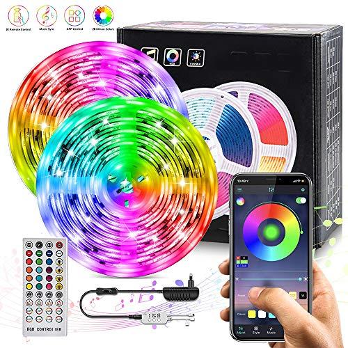 Tira LED,10M RGB Tira de LED 12V con Chip 5050,IP65 Impermeable Multicolor 300 LEDs Strip Tiras Con Control Remoto de 40 Teclas y Adaptador,Iluminación de ambiente,Decoración de Casa,Jardín, Fiesta