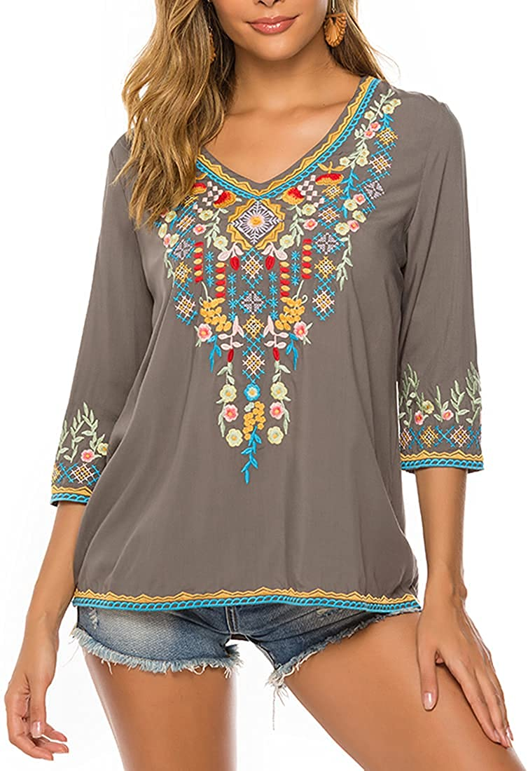 AK Women's Summer Boho Embroidery Bohemian Luxury Max 69% OFF Mexican Peasant Tops