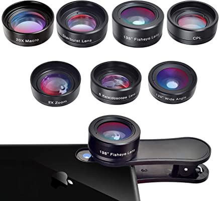 Phone Camera Lens,7 in 1 Cell Phone Lens Kit for iPhone and Android, 198°Fisheye,120° Wide Angle,20X Macro,2X telephoto,CPL,Starburst Lens,6 Kaleidoscope Lens