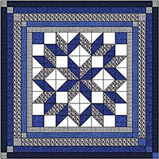 Easy Quilt Kit Carpenters Wheel/Blue/Black and Gray Camo-King