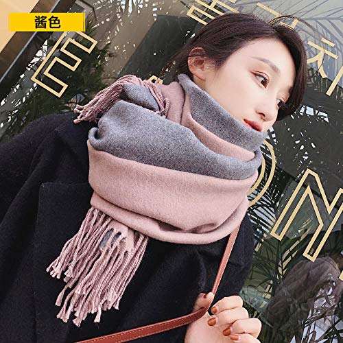 Schals Für Damen Red Scarf Female Autumn and Winter Wild Thick Warm Scarf Men's Winter Couple Models - Sauce Color (D