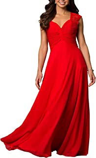 Women's V-Neck Chiffon Lace Formal Casual Party Wedding Evening Prom Gown Dress Cleb Cocktail Plus Size Maxi Dress