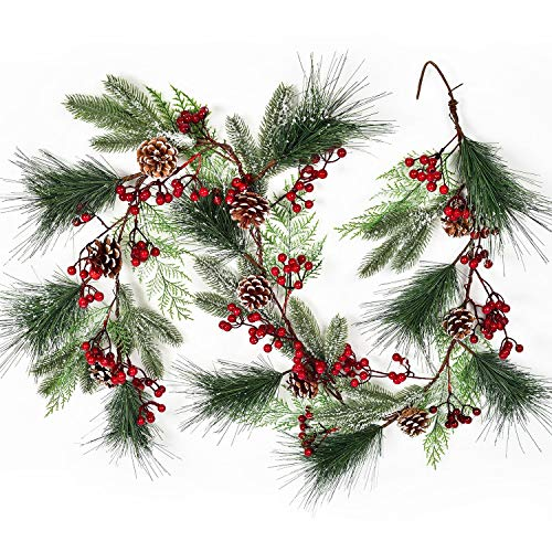 Lvydec Christmas Pine Garland Decoration, 6ft Greenery Christmas Garland with Red Berry Pine Cones Faux Spruce Branch and Pine Needles for Holiday Mantel Fireplace Table Centerpiece